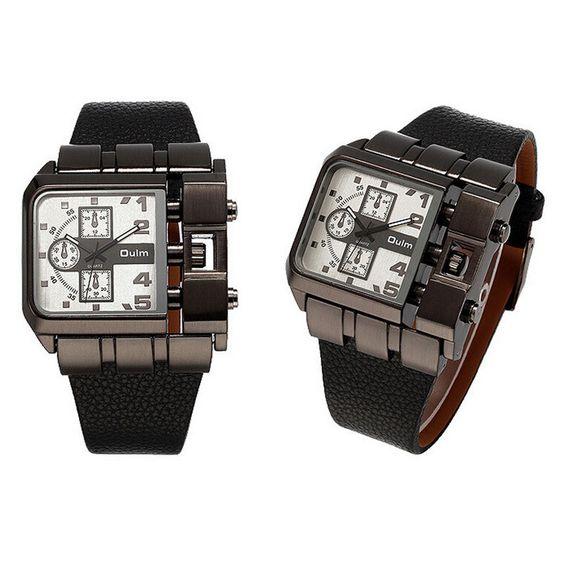 Oulm 3364 Brand Unique Design Men Wristwatch Leather Band Quartz Watch
