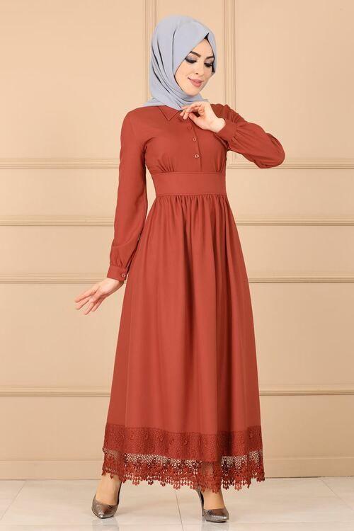 Modaselvim Elbise Etegi Gupurlu Elbise 5659mp186 Kiremit Elbiseler Elbise Kiyafet