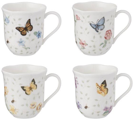 Lenox Butterfly Meadow Mug, 10-Ounce, Assorted Colors, Set of 4