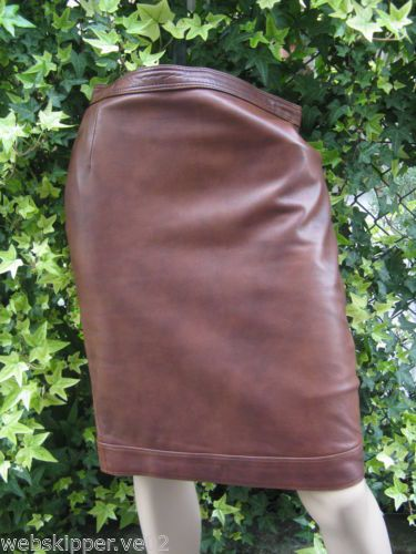 GONNA SKIRT PELLE LEATHER TG.42 MARRONE STEAMPUNK BROWN MATITA PENCIL CASUAL P07 | eBay