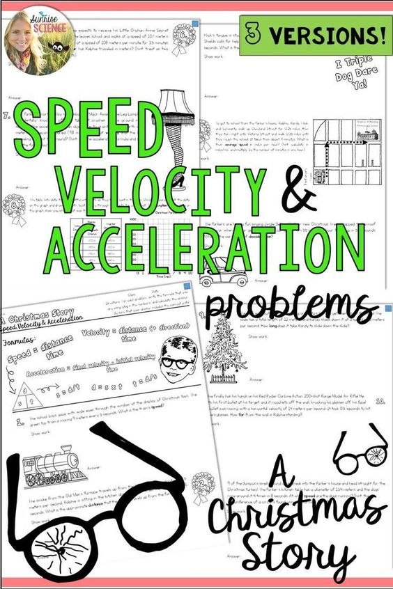 Acceleration Practice Problems Worksheet Speed Velocity Acceleration Motion A Christmas Story Physic In 2020 Speed Velocity Acceleration A Christmas Story Acceleration