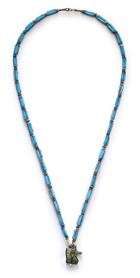 An Egyptian faience bead necklace, Ptolemaic Period, circa 1st century BC. Starting bid $1,200.