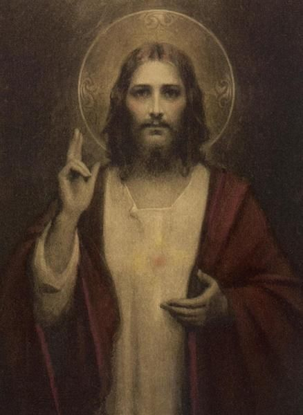 """Glossy full-color print of theSacred Heartof Jesus image suitable for framing.""""Sacred Heart of Jesus"""" was created by American artist Charles Bosseron Chambers"""