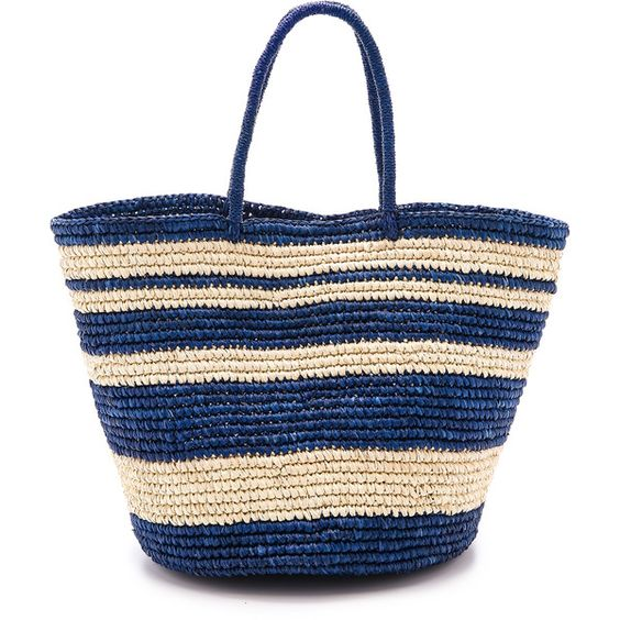 Sensi Studio Striped Maxi Tote (328 CAD) ❤ liked on Polyvore featuring bags, handbags, tote bags, taschen, blue tote, blue purse, stripe tote, straw handbags and woven handbag