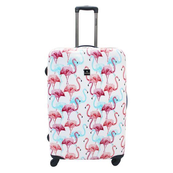 Großer #Koffer Saxoline #Flamingo bei Koffermarkt: ✓Flamingo-Print in rosa und blau ✓4 Rollen ✓ABS-Polycarbonat-Hartschale ⇒Jetzt kaufen