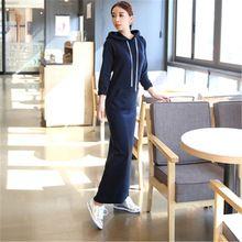 2016 automne hiver New femmes coréennes épais polaire chaude à Long Hoodies manches longues poches Slim voir Thin Sport Maxi robe LW384(China (Mainland))