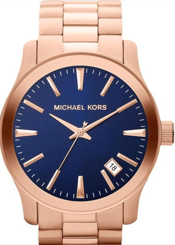 Michael Kors Mens MK7065 Rose Gold Tone Blue Face Watch $200