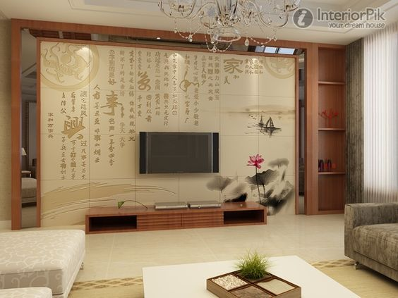 New Chinese Style Living Room TV Background Wall Tile Decoration
