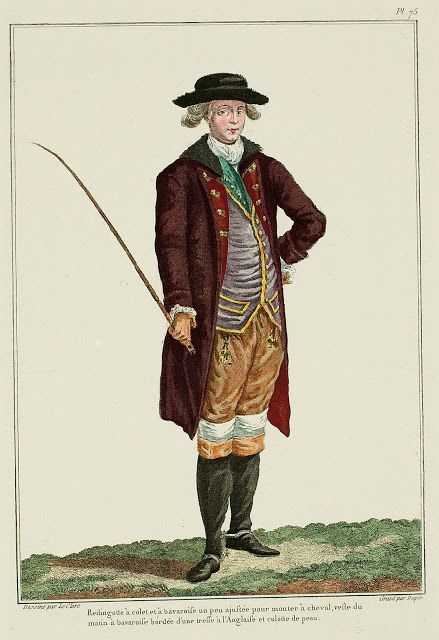 Galerie des Modes, 20e Cahier, 2e Figure  Redingote with collar and bavaroises, a little fitted for riding a horse; morning vest with bavaroises, edged with an English braid; leather breeches. (1779)