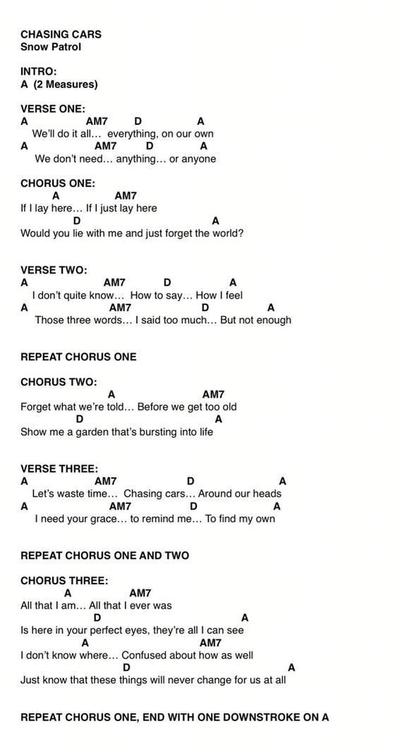 Chasing Cars Chords By Snow Patrol Video Tutorial With Images