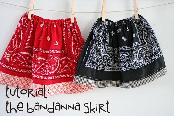 Bandanna skirt: Bandanna Skirt, Tutorial Bandanna, Little Girls, Cowgirl Costume, Bandana Skirts, Sewing Projects, Skirt Tutorial