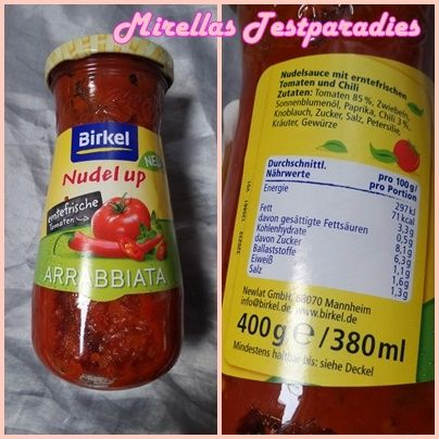 """Birkel Nudel up """"Arrabbiata"""" Pasta-Sauce aus der Degustabox von September."""