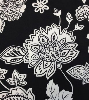 Outdoor Fabric-Floral Black & White
