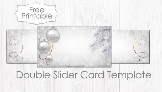 Free Printable White Christmas Double Slider Card Template Raspberry Swirls Slider Cards Printable Place Cards Templates Printable Place Cards