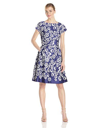 BUY NOW Anne Klein Women s Printed Boat Neck Sateen Fit and Flare Dress, Ultramarine Combo, 12 Printed More Details Special Price :