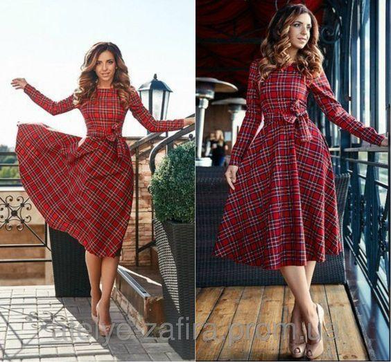 Платье из красной клетки