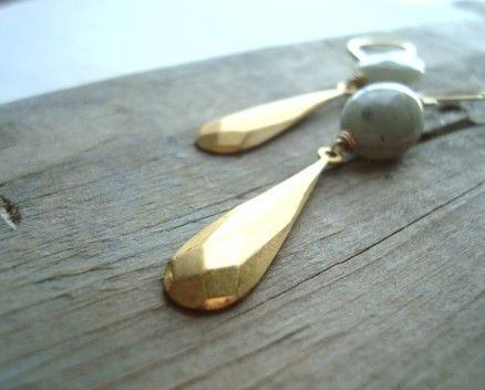 Aquamarine and Vintage Brass Teardrop Earrings Sun and Sea from Fuchsia Bloom Studio Bridal