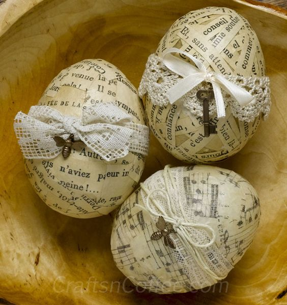 How to use Mod Podge to decoupage Easter Eggs (Could do spheres too) Love the lace and charms: