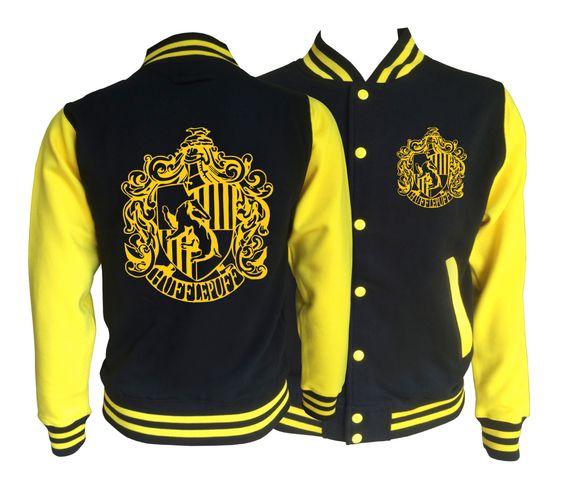 Vintage style Harry potter Inspired Hufflepuff House varsity jacket with gold emblem in front and back. Amazing! by iganiDesign on Etsy