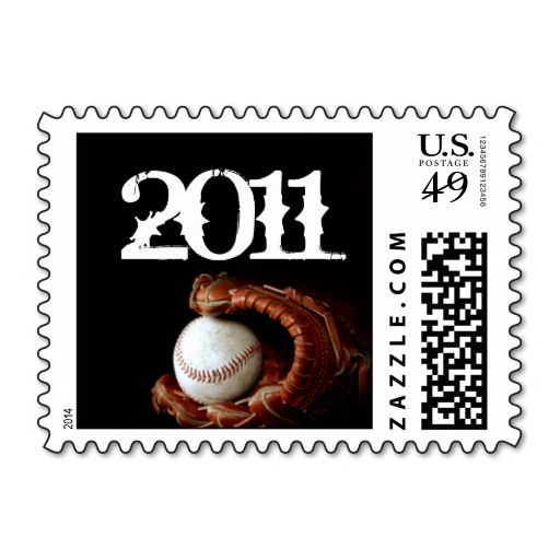 Baseball and Glove Graduation Postage Stamp. This is customizable to put a personal touch on your mail. Add your photos or text to design your own stamp that can be sent through standard U.S. Mail. Just click the image to try it out!