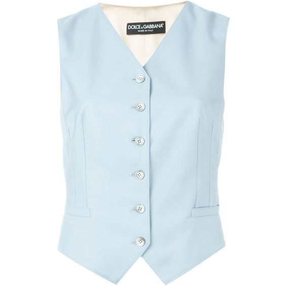 Dolce & Gabbana tailored waistcoat ($850) ❤ liked on Polyvore featuring outerwear, vests, blue, blue vest, v-neck vest, waistcoat vest, v neck vest and sleeveless waistcoat