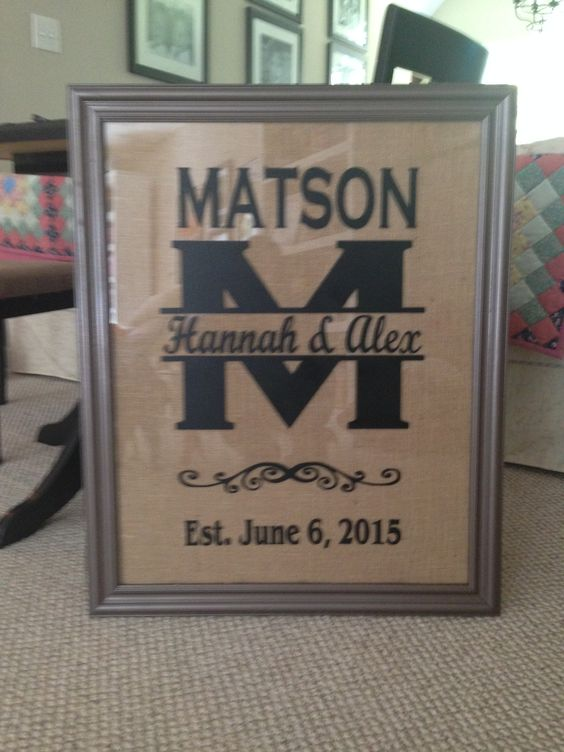 Custom vinyl creation.  Picture frame is almost 3 feet tall. Burlap background and old spray painted picture frame.