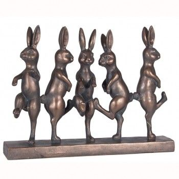 Home decoration - Dancing Hares in antique bronze finish.