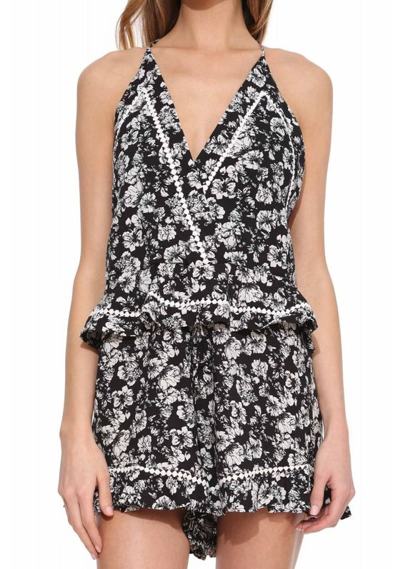 Black Floral Romper in Black/white | Necessary Clothing