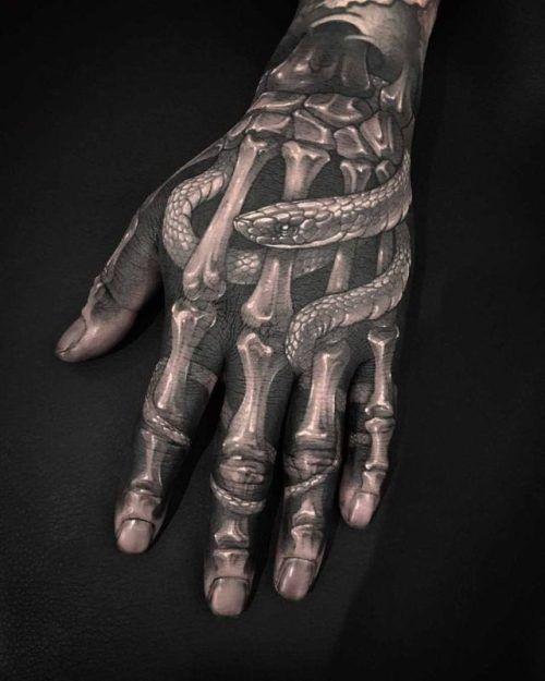 Skeleton Tattoo On Hand : skeleton, tattoo, Skeleton, Tattoo, Snake, Ideas, Gallery, Tattoos, Inspo, Guys,, Tattoos,