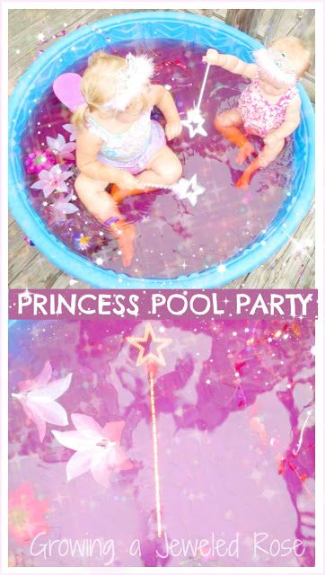Princess Pool Party & Sensory Pool- next time you fill the wading pool for your little ones add bit of sensory exploration and imaginative play by transforming the pool into a SENSORY pool.  This princess pool party  is just one of endless possibilities !