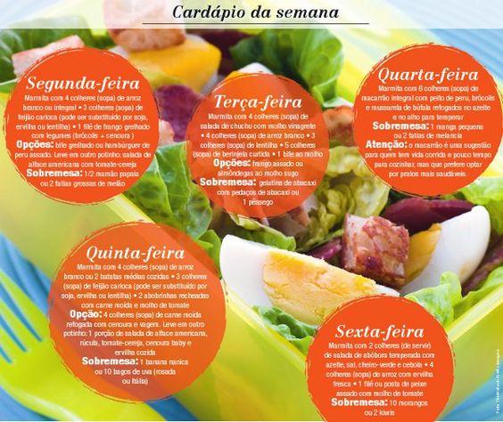 Dieta da Marmita - Cardápio
