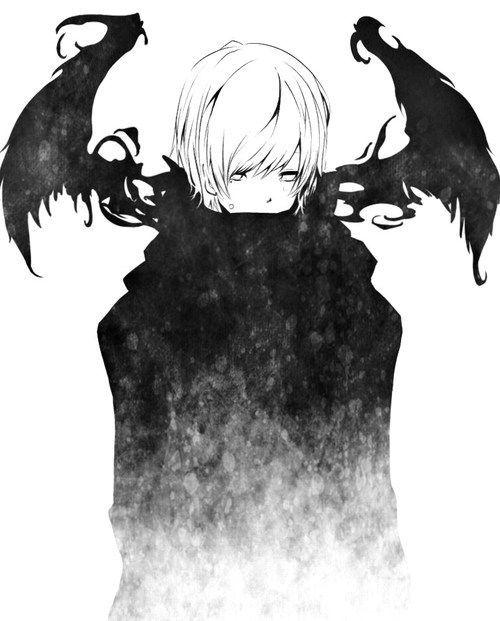 misty cloaked winged demon anime manga art