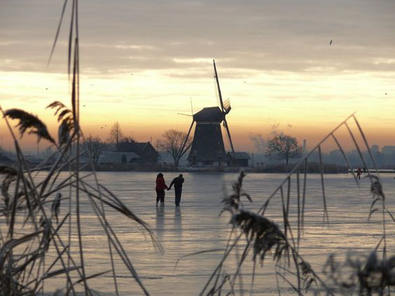 Ice skating in winter, The Netherlands
