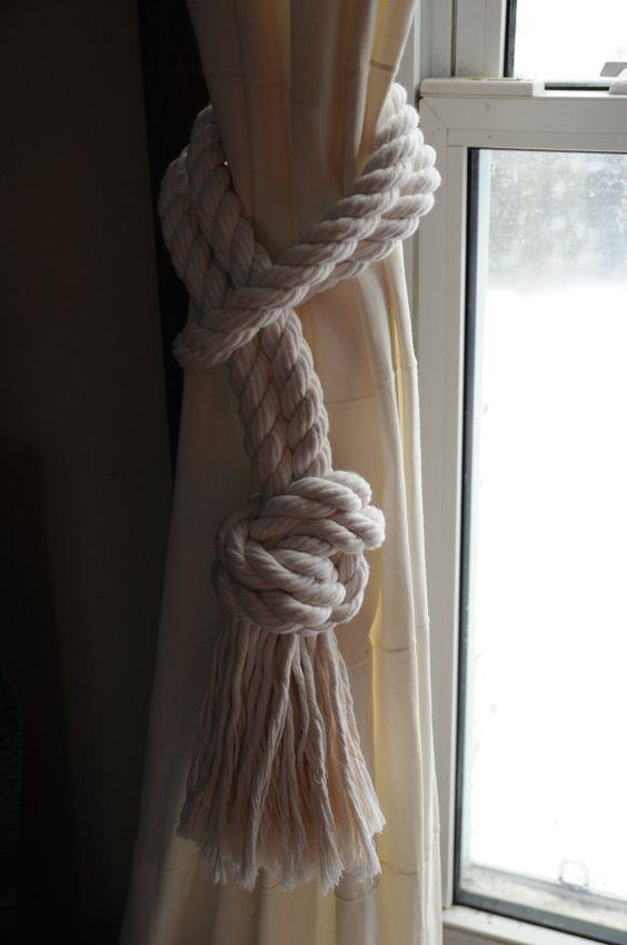 Nautical Decor - Nautical Cotton Rope Curtain Tiebacks - 3/4 Inch Cotton Rope - (this is per pair):