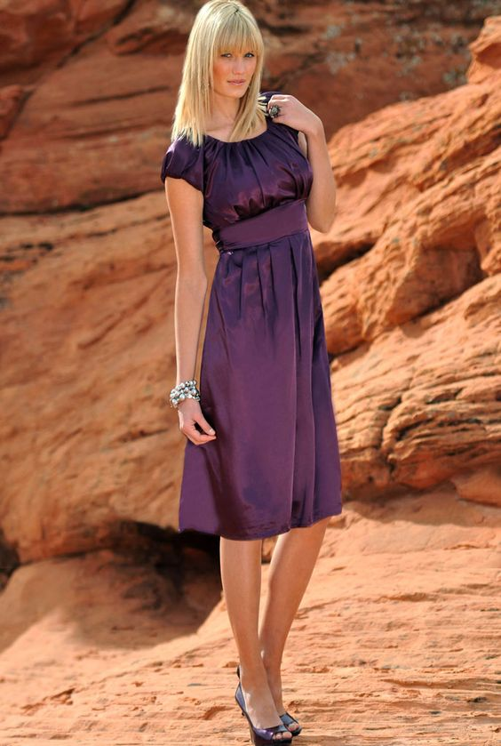 Pleated Satin Bubble Sleeve Dress-Modest- Bridesmaid- Formal Dress ...