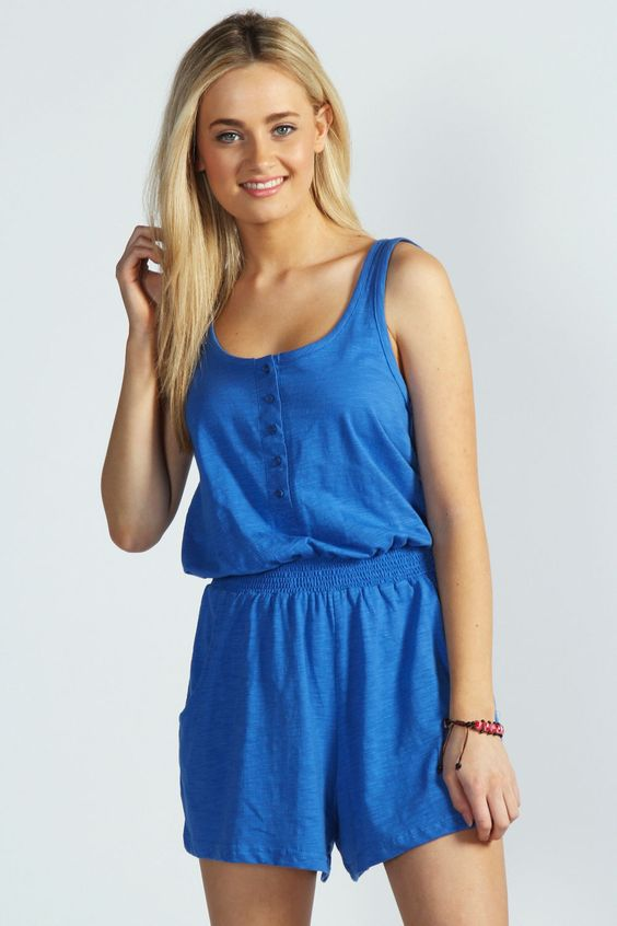 Button Front Jersey Romper