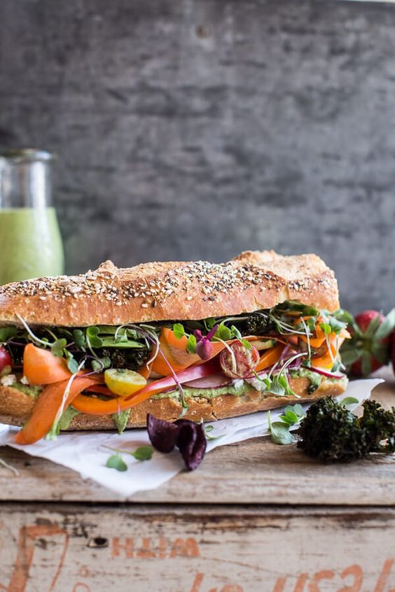 California Rainbow Veggie Sub with Goddess Dressing + Chipotle BBQ Ranch Kale Chips (recipe) / by Half Baked Harvest