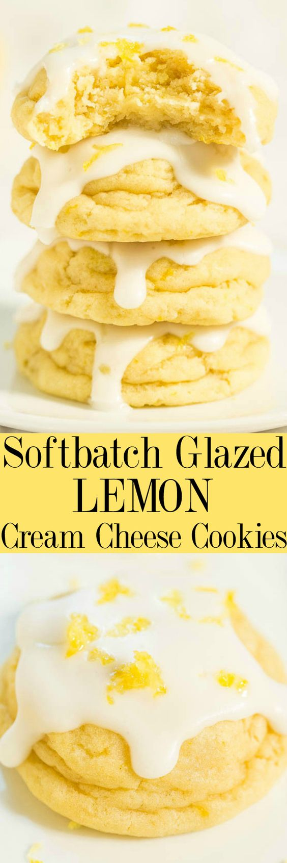 Softbatch Glazed Lemon Cream Cheese Cookies Recipe via Averie Cooks - Big, bold lemon flavor packed into super soft cookies thanks to the cream cheese!! Tangy-sweet perfection! Lemon lovers are going to adore these easy cookies!! The BEST Easy Lemon Desserts and Treats Recipes - Perfect For Easter, Mother's Day Brunch, Bridal or Baby Showers and Pretty Spring and Summer Holiday Party Refreshments! #lemondesserts #lemonrecipes #easylemonrecipes #lemon #lemontreats #easterdesserts #mothersdaydesserts #springdesserts #holidaydesserts #summerdesserts