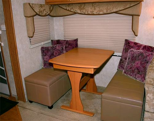 Dining Area Inside A Fifth Wheel With An Ottoman Added For Seating Dinette Rv Living Rv Storage