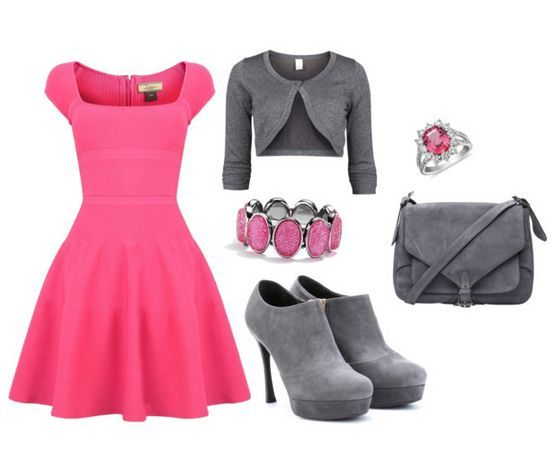 Pink And Grey Set This is a nice set for a day where you want to look abit girly when your in a date during the day with yourhusband/boyfriend or just girls day out. Just an idea.