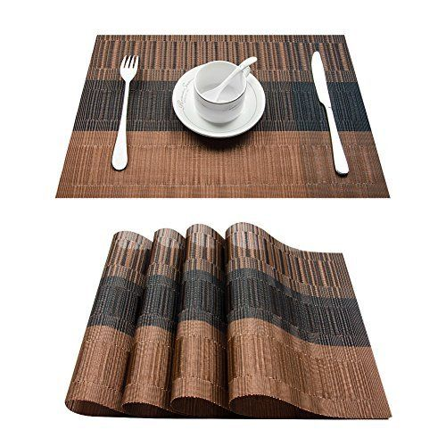 Top Finel Placemats Plastic Table Mats Set Of 8 Heat Resistant Washable Place Mats For Dinner Table Brown Black Lavorist Dining Table Runners Dining Table Placemats Black Placemats