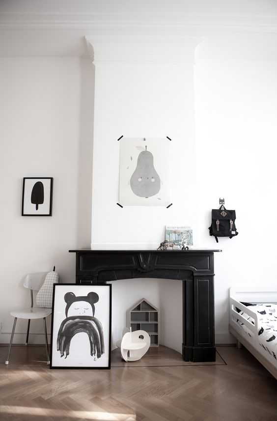 Studio Bandit Blog & Kids Concept Store - black and white kids room with fireplace mantle.