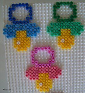 Baby pacifiers hama perler beads by Les Loisirs de Pat