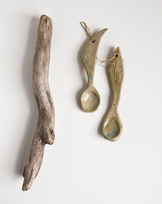 stoneware spoons set of two handshaped beige ceramic by karoArt, €22.00