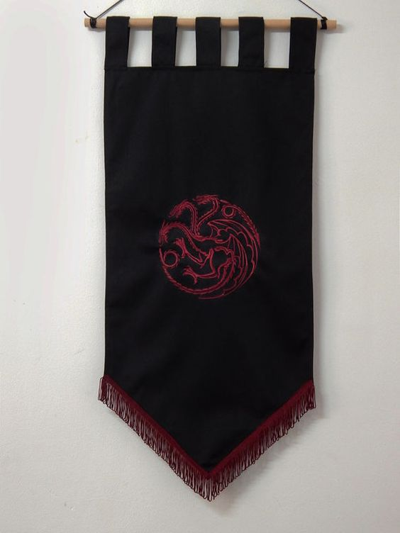 game of thrones flag curtain house targaryen home decor. Black Bedroom Furniture Sets. Home Design Ideas