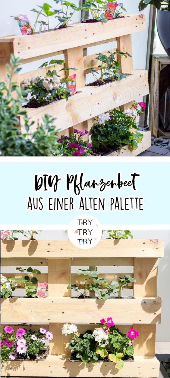 DIY Pflanzenbeet aus alter Palette