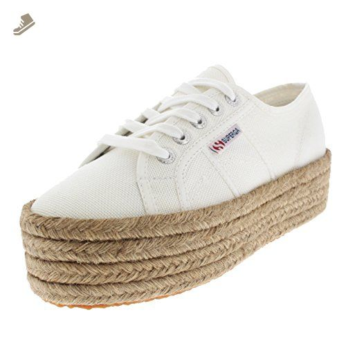 Womens Superga 2790 Cotropew Wedges Summer Casual Flatform Sneakers - White  - 9.5 - Superga sneakers