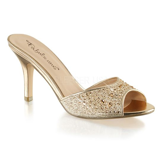 Fabulicious Shoes LUCY-01 Gold Slide with 3 1/4 inch Heel ...