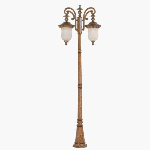 """Livex 8499-57 Savannah Outdoor 2 Head Post Venetian Patina by Livex. $999.90. Livex Lighting 8499-57 Venetian Patina Outdoor 2 Head Post Savannah 27.5""""Lx11""""Wx90.5""""H, 2 150w Med, Vintage Carved Scavo Glass Glass / Shade Includes mounting template with anchor bolts"""
