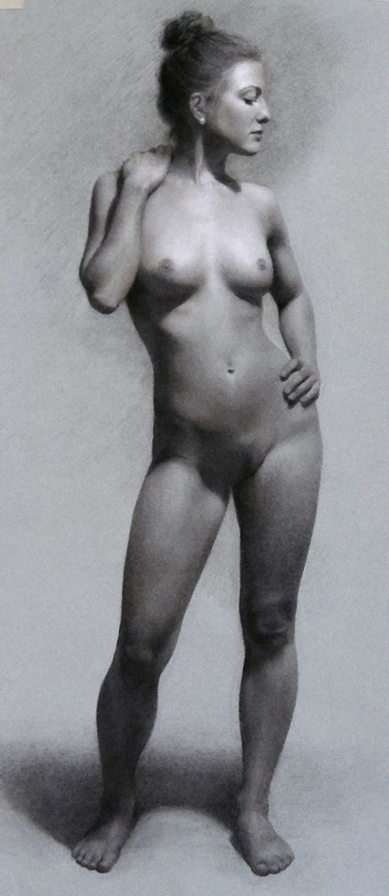Student Figure Study, Charcoal And Chalk On Toned Paper -6451